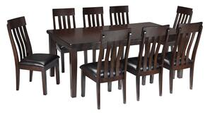 Natashia Collection 9-Piece Dining Room Set with Extendable Table and 8 Side Chairs in Dark Brown Finish