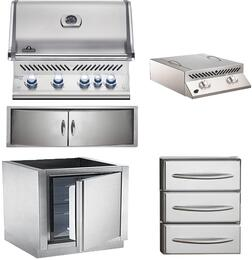 """5-Piece Stainless Steel Outdoor Kitchen Package with BIPRO500RBNSS2 31"""" Natural Gas Grill, BISZ300NFT 20"""" Side Burner, IMFHR 35"""" Outdoor Refrigerator, N3700358SS1 35"""" Double Access Door, and N3700360 18"""" Storage Drawer"""