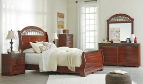 Fairbrooks Estate Queen Bedroom Set with Sleigh Bed, Dresser, Mirror and Nightstand in Reddish Brown