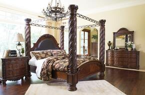 North Shore King Bedroom Set with Poster Bed, Dresser, Mirror and Chest in Dark Brown