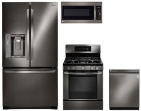 "4-Piece Kitchen Package with LFX25973D 36"" French Door Refrigerator, LRG3061BD 30"" Freestanding Gas Range, LMV2031BD 30"" Over the Range Microwave, and LDP6797BD 24"" Built In Fully Integrated Dishwasher in Black Stainless Steel"