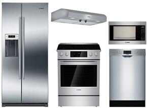 """5-Piece Stainless Steel Kitchen Package with B20CS30SNS 36"""" Side by Side Refrigerator, HGI8054UC 30"""" Slide-In Gas Range, DUH30152UC 30"""" Under Cabinet Hood, HMB5051 24"""" Microwave, and SGE68U55UC 24"""" Dishwasher"""