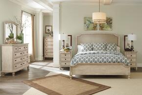 Elliott Collection King Bedroom Set with Upholstered Panel Bed, Dresser, Mirror and 3-Drawer Nightstand in Parchment White