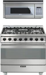 "2-Piece Stainless Steel Kitchen Package with C30GGXU1 30""  Freestanding Gas Range and OTR111SU 30"" Over the Range Microwave"
