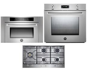 "Professional F30PROXT 30"" Single Electric Wall Oven 3 Piece Stainless Steel Kitchen Package with PM365S0X 36"" Gas Cooktop and SO24PROX Built In Microwave"