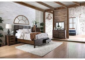 Hankinson Collection CM7576KSBDMCN 5-Piece Bedroom Set with King Storage Bed, Dresser, Mirror, Chest and Nightstand in Rustic Natural Tone Finish