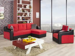 Divan Deluxe DIDESECACTR Pckage Containing Sectional and Armchair with Pillows, Storage Under the Seats, Stitched Detailing, Curved Arms and Block Feet with Woodlike and Stainless Steel Accents: Truva Red