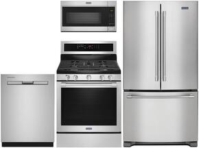 "4-Piece Kitchen Package with MFF2558FEZ 36"" French Door Refrigerator, MGR8800FZ 30"" Gas Freestanding Range, MDB8959SFZ 24"" Built in Dishwasher and MMV4206FZ 30"" Over The Range Microwave oven in Stainless Steel"