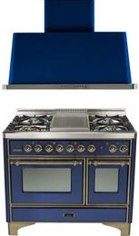 "2-Piece Midnight Blue Kitchen Package with UMD100FDMPBLY 40"" Freestanding Dual Fuel Range (Oiled Bronze Trim, 4 Burners, Griddle) and UAM100BL 40"" Wall Mount Range Hood"
