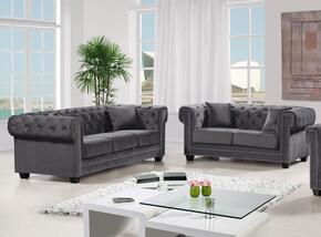 Bowery Collection 6142PCSTLKIT2 2-Piece Living Room Sets with Stationary Sofa, and Loveseat in Grey