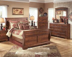 Atkins Collection Queen Bedroom Set with Sleigh Bed, Dresser, Mirror and Chest in Warm Brown