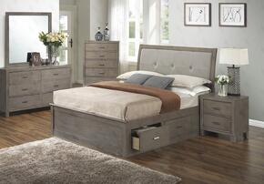 G1205BTSBDMN 4 Piece Set including Twin Storage Bed, Dresser, Mirror and Nightstand  in Gray