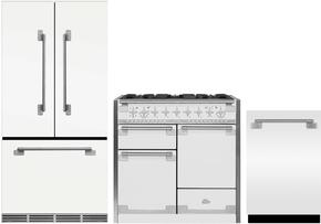 "3-Piece White Kitchen Package with MELFDR23WHT 36"" French Door Refrigerator, AEL48DFWHT 48"" Freestanding Dual Fuel Range, and AELTTDWWHT24"" Fully Integrated Dishwasher"