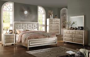 Voeville 20997EK5PC Bedroom Set with Eastern King Size Bed + Dresser + Mirror + Chest + Nightstand in Antique White Color