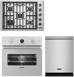 """2-Piece Stainless Steel Kitchen Package with VESO5272SS 27"""" Single Wall Oven, VGSU5305BSS 30"""" Natural Gas Cooktop and VDW302SS 24"""" Fully Integrated Dishwasher"""