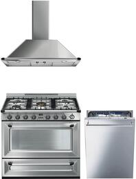 "3-Piece Stainless Steel Kitchen Package with TRU36GGX 36"" Freestanding Gas Range, KTU36X 36"" Wall Mount Convertible Hood, and STU8647X 24"" Fully Integrated Dishwasher"
