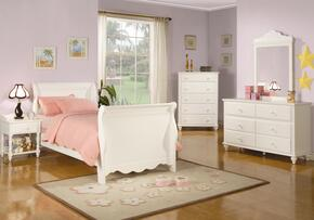 400360TSET5 Pepper 5 Pc Twin Size Bedroom Set in Crisp White Finish (Bed, Nightstand, Dresser, Mirror, and Chest)