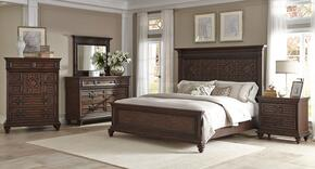 Palencia 799KPBDMNC 5-Piece Bedroom Set with King Panel Bed, Dresser, Mirror, Nightstand and Chest in Rustic Oak
