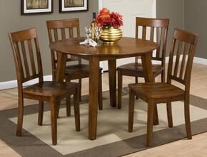 Simplicity Collection 45228SSET 5 PC Dining Room Set with Round Extendable Dining Table + 4 Slat Back Chairs in Caramel Finish