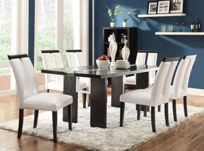 104561CH Kenneth Dining Room Set Including Rectangular LED Light Dining Table and 6 Chairs with Wide Legs and Wood Veneers & Solids Construction in Black Finish