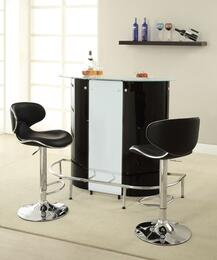 Bar Units and Bar Tables 100654BS 3 PC Bar Table Set with Bar Unit + Bar Stools in Black and White Color