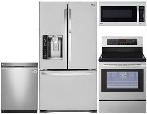 "4-Piece Stainless Steel Kitchen Package with LFXS24566S 36"" French Door Refrigerator, LRE3083ST 30"" Freestanding Electric Range, LDF7774ST Fully-Integrated Dishwasher and LMV2031ST 30"" Over-the-Range Microwave"