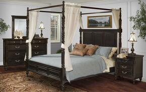 00222QCBDMNN Martinique 5 Piece Canopy Bedroom Set with Queen Bed, Dresser, Mirror and Nightstands, in Rubbed Black