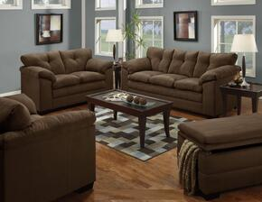 Luna 6565-0302015 3 Piece Set including Sofa, Loveseat and Chair and a Half with Tufted Back  in Chocolate