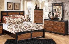 Tucker Collection Twin Bedroom Set with Panel Bed, Dresser, Mirror and Chest in Two Tone Brown