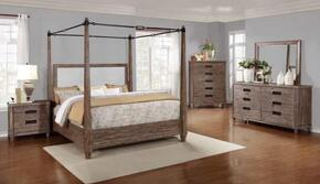 Madeleine Collection 203541Q5SET 5 PC Bedroom Set with Queen Size Canopy Bed + Dresser + Mirror + Chest + Nightstand in Smoky Acacia Finish