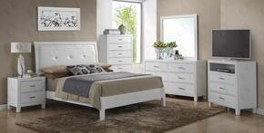 G1275ATBNTV 3 Piece Set including Twin Size Bed, Nightstand and Media Chest  in White