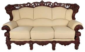 2189IVORYS2SET Traditional 2 Piece Livingroom Set, Sofa and Loveseat in Ivory with Mahogany Wood Finish