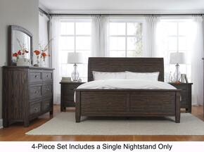 Trudell King Bedroom Set with Panel Bed, Dresser, Mirror and Single Nightstand in Dark Brown