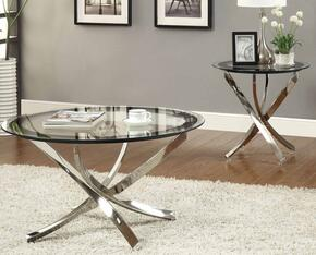 Occasional Group 702588CE 2 PC Living Room Table Set with Coffee Table + End Table in Chrome Finish