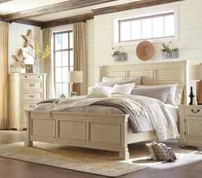 Bolanburg Queen Bedroom Set with Louvered Panel Bed, and Nightstand in Antique White