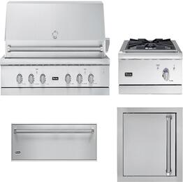 "4-Piece Stainless Steel Outdoor Kitchen Package with VGIQ554241LSS 54"" Liquid Propane Grill, VGWTO5241LSS 27"" Side Burner, VOADS5240SS 24"" Single Access Door, and SD5360 36"" Storage Drawer"
