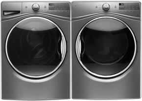 """Chrome Shadow WFW9290FC 27"""" Front Load Washer with WGD92HEFC 27"""" Gas Dryer"""
