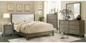 Enrico I Collection CM7068GYCKBDMCN 5-Piece Bedroom Set with California King Bed, Dresser, Mirror, Chest and Nightstand in Grey Finish