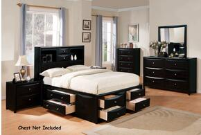 14102CKDM2N Manhattan Storage California King Size Bed + Dresser + Mirror + 2 Nightstands in Black Finish