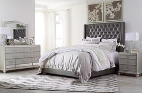 Coralayne Collection Queen Bedroom Set with Panel Bed, Dresser, Mirror and Nightstand in Gray