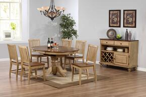 Brook Collection DLU-BR4260-C60-SRPW8PC 8 Piece Round or Oval Butterfly Leaf Dining Set with Server