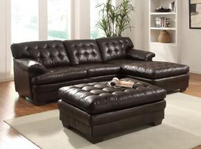 507702PC Nigel 2 PC Living Room Set with Sectional Sofa and Ottoman in Dark Brown