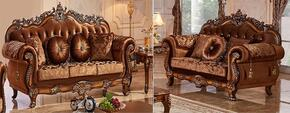 Napoli 692-S-L 2 PC Living Room Set with Sofa and Loveseat in Cherry Finish
