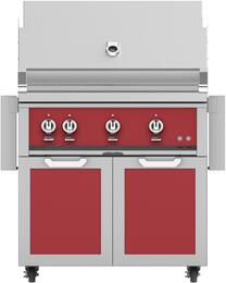 "36"" Freestanding Natural Gas Grill with GCD36RD Tower Grill Cart with Double Doors, in Matador Red"