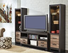 "Harlinton W3252PS Entertainment Center with 63"" Wide Large TV Stand and Two 72.17"" Tall Piere Cabinets in Warm Grey Finish"