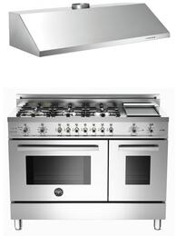 """Stainless Steel 2-Piece Kitchen Package With 48"""" Professional Series Dual Fuel Freestanding Range and Free KU48PRO1X 48"""" Profesional Wall-Mount Hood"""