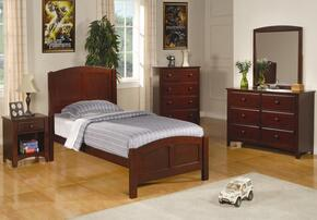 400291TSET6 Parker 6 Pc Twin Size Bedroom Set in Deep Cappuccino Finish (Bed, 2x Nightstand, Dresser, Mirror, and Chest)