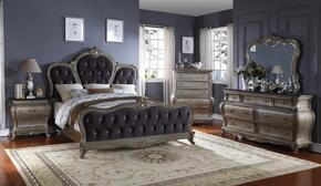 Roma ROMAQDMCN 5 PC Bedroom Set with Queen Size Bed + Dresser + Mirror + Chest + Nightstand in Antique Silver Finish