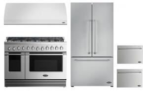 "4 Piece Kitchen Package With RGV2488L 48"" Gas Freestanding Range, VS48 48"" Wall Mount Hood, RF201ACJSX1 36"" French Door Refrigerator and two DD24SV2T7 24"" Dishwasher Drawers in Stainless Steel"