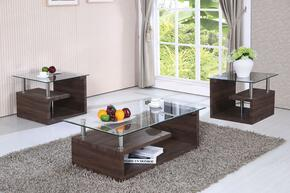 Alfie 80405CE 3 PC Living Room Table Set with Coffee Table + 2 End Tables in Dark Oak Finish
